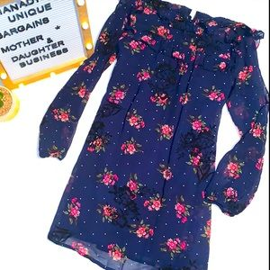 Xtraoridinary Girls Navy Floral Polka Dot Dress